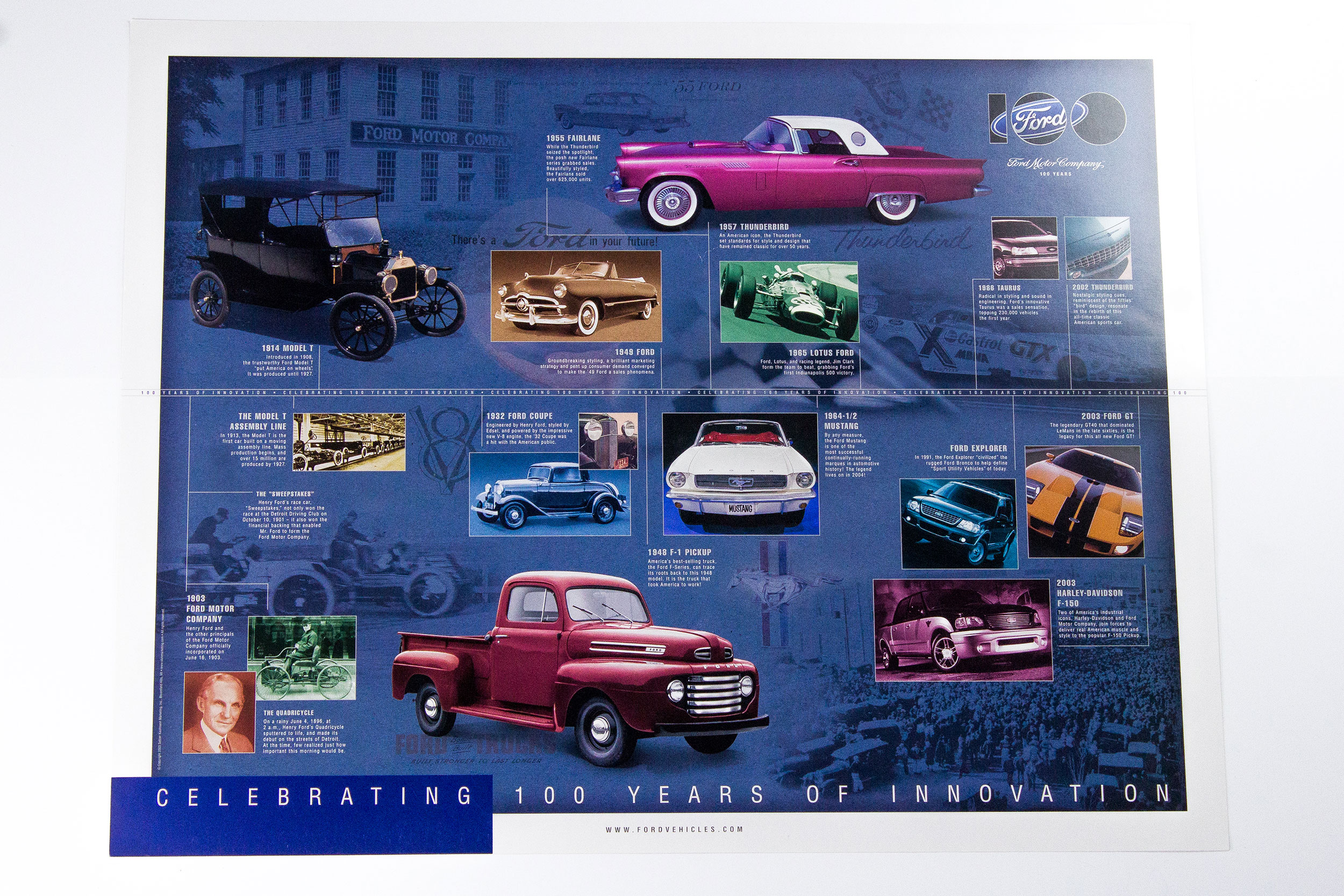 Celebrating 100 Years Poster Ford Piquette Avenue Plant 1948 Pickup Truck Sale
